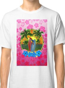 Tropical Sunset Pink Flower Classic T-Shirt