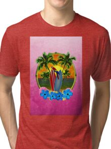 Tropical Sunset Pink Tri-blend T-Shirt