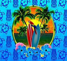 Blue Tiki Tropical Sunset by BailoutIsland
