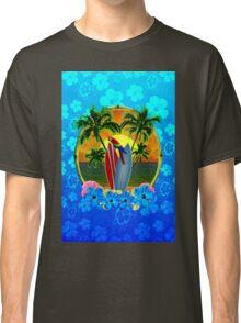 Blue Flowers Tropical Sunset Classic T-Shirt