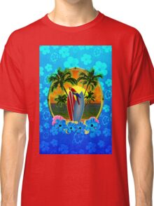 Blue Flowers Tropical Sunset Classic T-Shirt