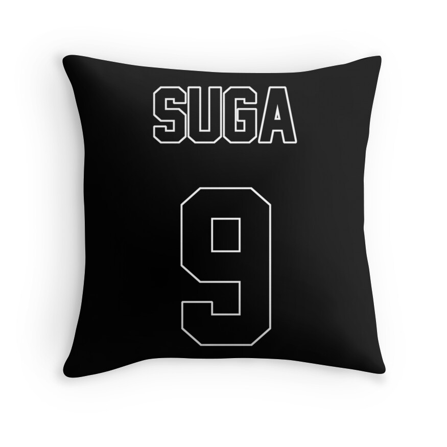 Quot Bts Suga Jersey Quot Throw Pillows By Nitewalker314 Redbubble