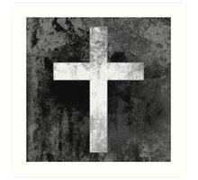 Christian Cross White grey faded Art Print