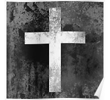 Christian Cross White grey faded Poster