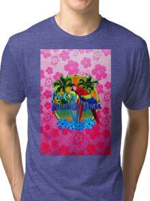 Pink Hibiscus Island Time Sunset Tri-blend T-Shirt