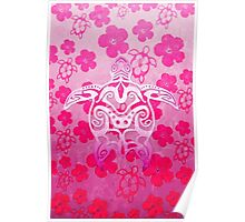 Pink Tribal Turtle Poster