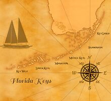 Vintage Nautical Florida Keys Map by BailoutIsland