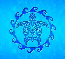 Blue Tribal Turtle Sun by BailoutIsland