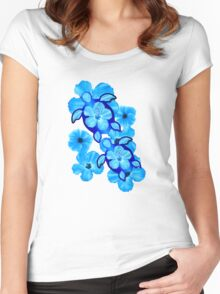 Blue Hibiscus And Honu Turtles Women's Fitted Scoop T-Shirt