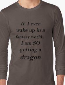 Fantasy Dragon Black Long Sleeve T-Shirt