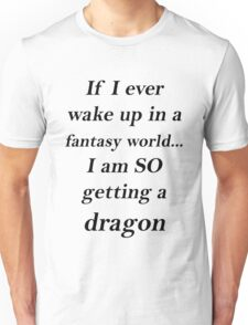Fantasy Dragon Black Unisex T-Shirt
