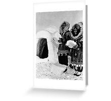 BW USA Alaska igloo builders 1970s Greeting Card