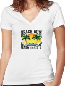 Beach Bum University Women's Fitted V-Neck T-Shirt