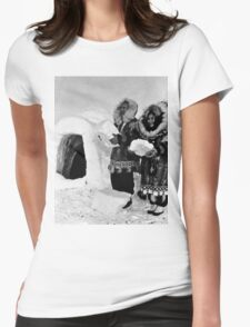 BW USA Alaska igloo builders 1970s Womens Fitted T-Shirt