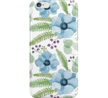 Blue watercolor anemones pattern iPhone Case/Skin