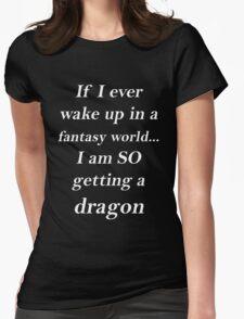 Fantasy Dragon White Womens Fitted T-Shirt