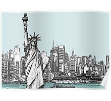 America New York Statue Of Liberty Skyline  Poster