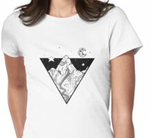 Midnight Geometric Mountains Womens Fitted T-Shirt
