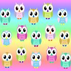 Colourful owls by missmoneypenny
