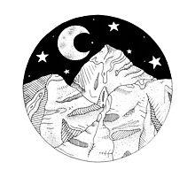 Midnight Mountains Original Ink Illustration  Photographic Print