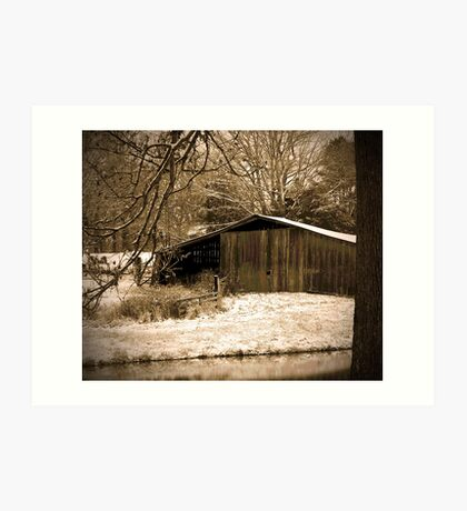 Old Barn in the Snow Art Print