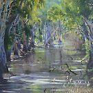 """Sunlit Billabong - Brick Kiln Creek, Deniliquin"" by louisegreen"