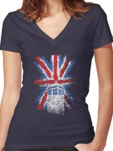 British Time Travellers Women's Fitted V-Neck T-Shirt