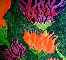 orange harasses purple by Ameekathleen
