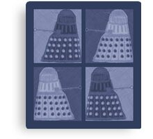 Daleks in negatives - blue Canvas Print