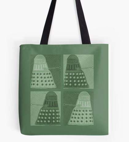 Daleks in negatives - green Tote Bag