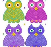 Whimsical Cartoon Owl Pattern by Whimsydesigns