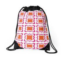 Hot Pink Orange Bold Modern Repeat Pattern Drawstring Bag