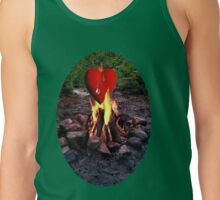 FIRE BURNING ..TEARS OF A CRYING HEART ON FIRE..PICTURE - PILLOW- TOTE BAG-TEE -SCARF ECT. Tank Top