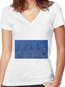 UFO In the Mist Women's Fitted V-Neck T-Shirt