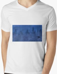 UFO In the Mist Mens V-Neck T-Shirt