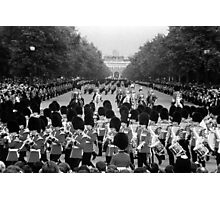 BW UK England the Guards returning along the Mall 1970s Photographic Print