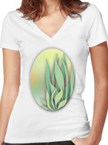 Abstract Plant in the Summer Women's Fitted V-Neck T-Shirt