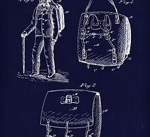 Antique Backpack blueprint drawing  by Glimmersmith