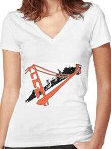 San Francisco Giants Stencil Team Colors Women's Fitted V-Neck T-Shirt
