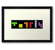 Tetris on Black Framed Print