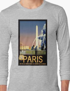 Paris Vintage Travel Poster Restored Long Sleeve T-Shirt