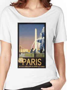 Paris Vintage Travel Poster Restored Women's Relaxed Fit T-Shirt