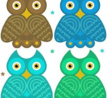 Colorful Cartoon Owl Pattern by Whimsydesigns