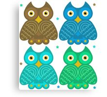Colorful Cartoon Owl Pattern Canvas Print