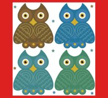 Colorful Cartoon Owl Pattern One Piece - Short Sleeve