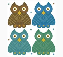 Colorful Cartoon Owl Pattern One Piece - Long Sleeve