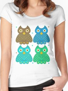 Colorful Cartoon Owl Pattern Women's Fitted Scoop T-Shirt