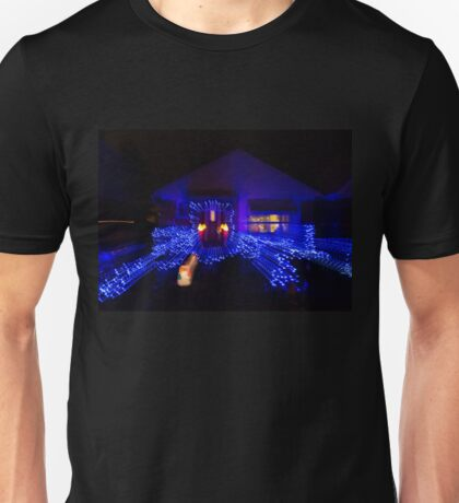 Abstract Christmas Lights - Blue Holidays House Unisex T-Shirt