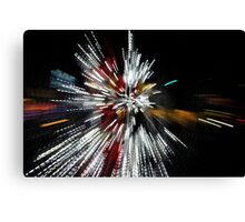 Abstract Christmas Lights in Red and White Canvas Print