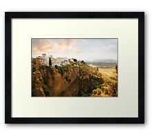 View from the Puente Nuevo Bridge ovelooking the Tajo de Ronda gorge Framed Print